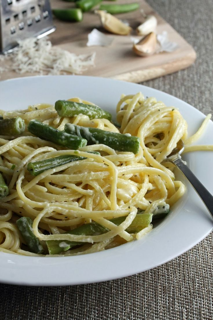 Creamy Garlic Pasta with Green Beans | Favorite Recipes | Pinterest
