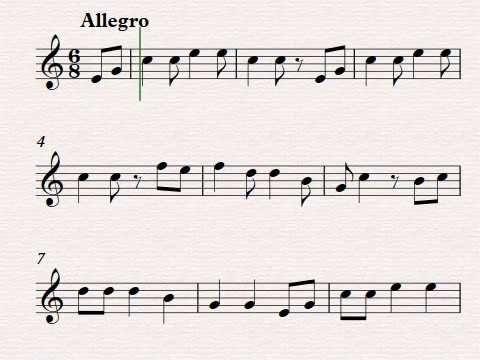 Cajemé. Partitura para flauta dulce.Canción tradicional Mexicana.