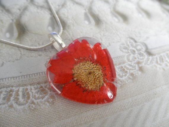 Red Daisy Pressed Flower Glass Heart by giftforallseasons on Etsy