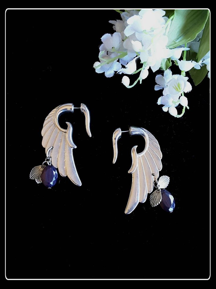 Vintage stunning big silver wings stud statement earrings by PawhillTreasures on Etsy