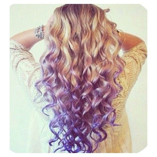 Purple tips with blonde! Hair, MakeUp Beauty found on Polyvore
