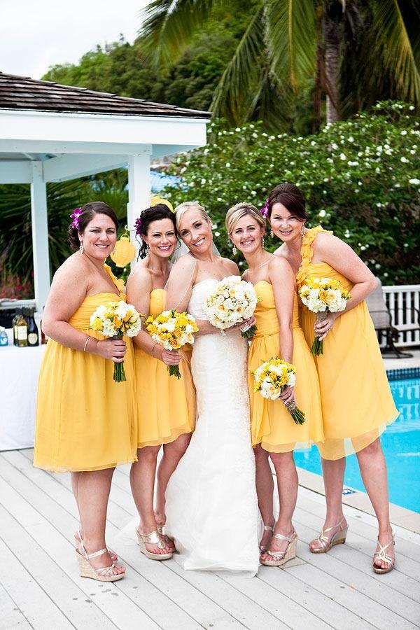 bridesmaids dresses by Carol Hannah.