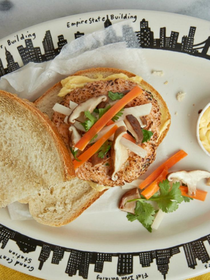 Bahn Mi Salmon Burger Recipe - JoyOfKosher.com: Dinners Tonight, Salmon Burgers Recipe, Burger Recipes, Fish Dishes, Mi Salmon, Kosher Cooking, Bahn Mi, Joyofkosher Com