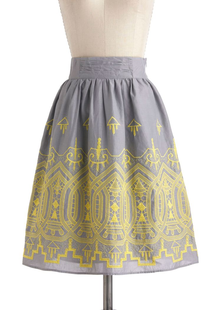 Landscape Layout Skirt - Cotton, Long, Grey, Yellow, Print, Work, Fit & Flare, Daytime Party