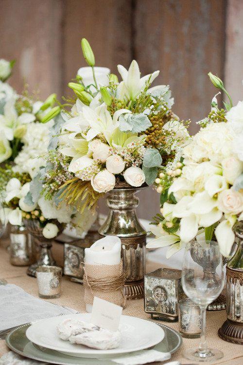 .: Burlap, Mercury Glasses, White Flowers, Floral Design, Color, Beautiful Tables Sets, Gardens Parties, Centerpieces, Tables Decor