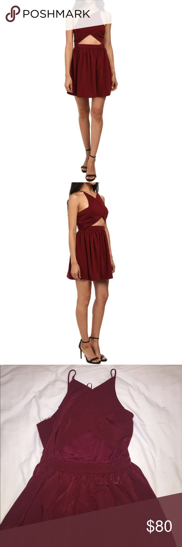 Mahogany dress NWT, has a cutout on front with a flare skirt. Super cute dark red color. Adjustable straps. This one is just a tad bit wrinkly so it does need to be ironed a bit. Going on sale Nov 22nd! Stylestalker Dresses Mini