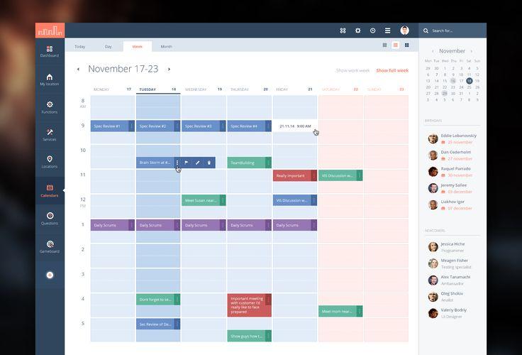Beautiful calendar design found on Dribbble.