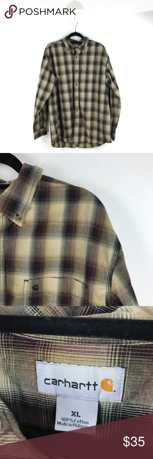 """Carhartt men's Plaid Buttondown Sz XL M84 Carhartt Button-down Plaid Shirt Men's Size XL Tan & Maroon 100% Cotton M84  Measurements: Chest:  24.5"""" Flat Across Length: 30.5"""" Flat Across  In good preowned condition with no known flaws and light overall wear. Carhartt Shirts Casual Button Down Shirts"""