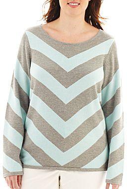 Liz Claiborne Long-Sleeve Chevron Sweater - Plus on shopstyle.com.au