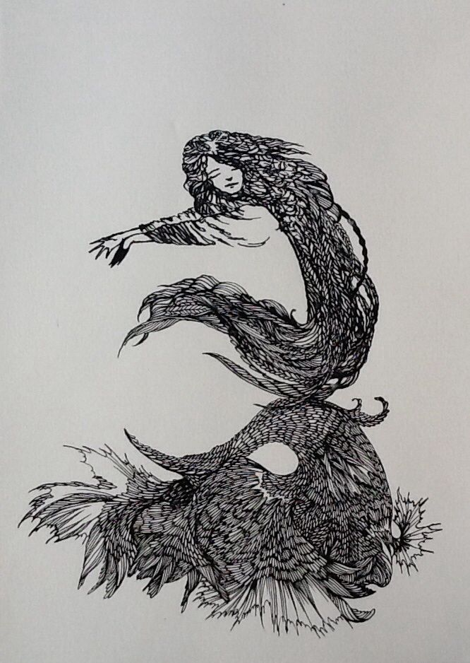 """That first morning stretch"", ink and quill, by Ashya Lane-Spollen"