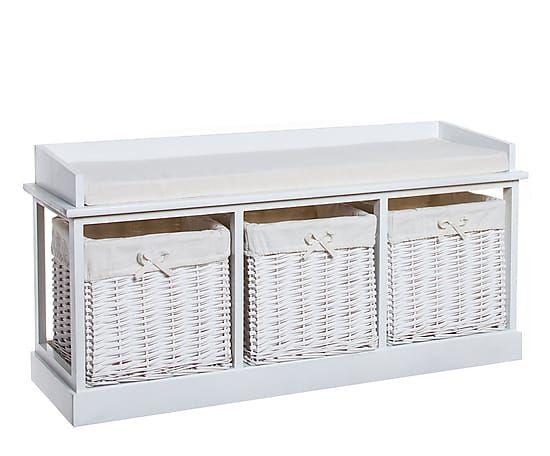 Banco de madera con 3 cestas de mimbre - blanco. Largo: 100 cm Alto: 50 cm Ancho: 35 cm