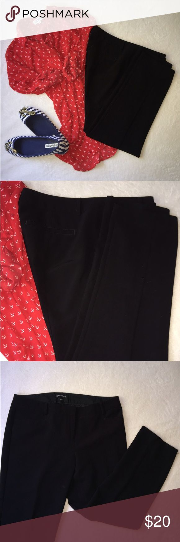 EXPRESS Columnist Professional Pants, Cropped EXPRESS Columnist Professional Pants, Cropped.  Slinky loose material (93% poly 7% spandex).  These feel great on, and wear well all day. Express Pants Ankle & Cropped