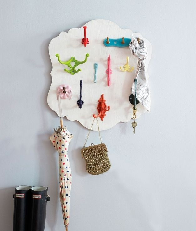 Colorful Hook Hanger   50 Clever DIY Ways To Organize Your Entire Life