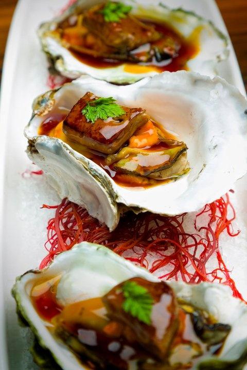Beautiful Oysters with Foie Gras at Morimoto, Waikiki
