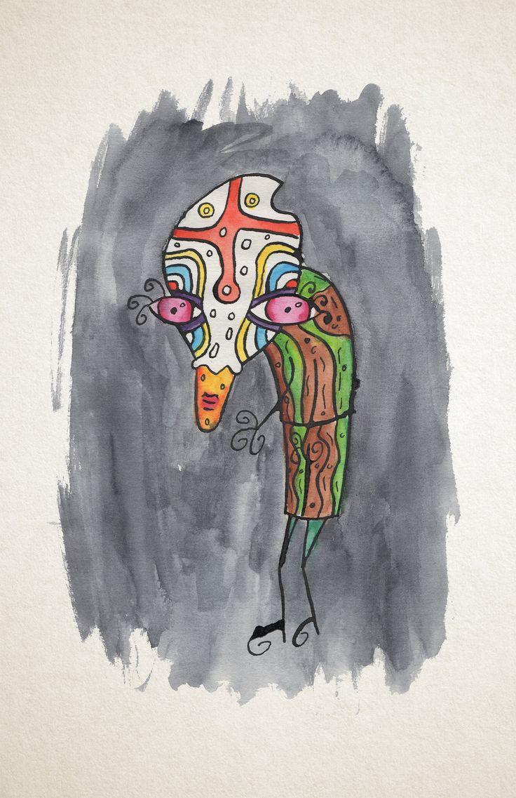 Tegner med Pen, blæk og akvarel