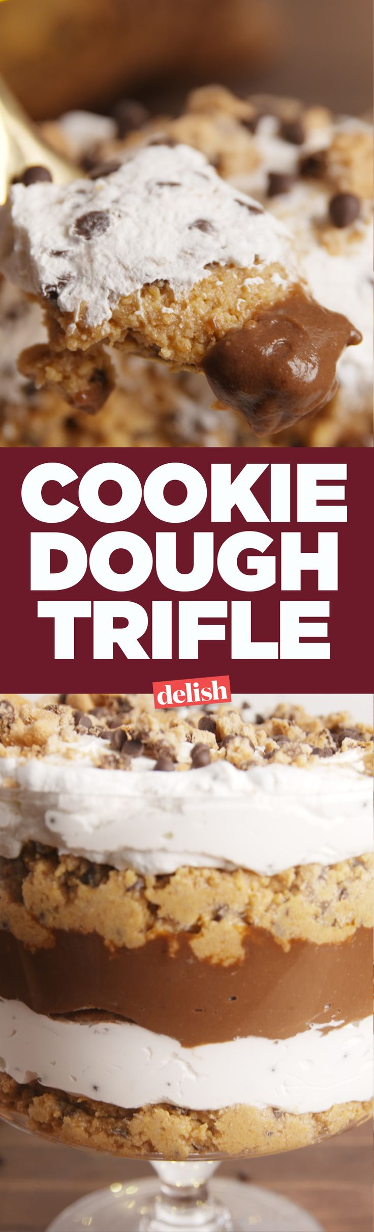 This Cookie Dough Trifle uses a brilliant hack to make cookie dough. Get the recipe on Delish.com.