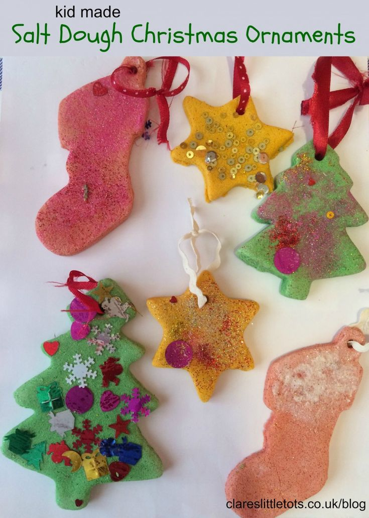 kid made easy Christmas salt dough ornaments. These would make a lovely gift for friends and family and is simple enough toddlers and preschoolers and join in making these decorations.