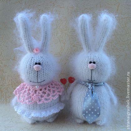 Зайки Жених и Невеста. - белый,влюбленные,заяц,вязаная игрушка,вязаные зайцы