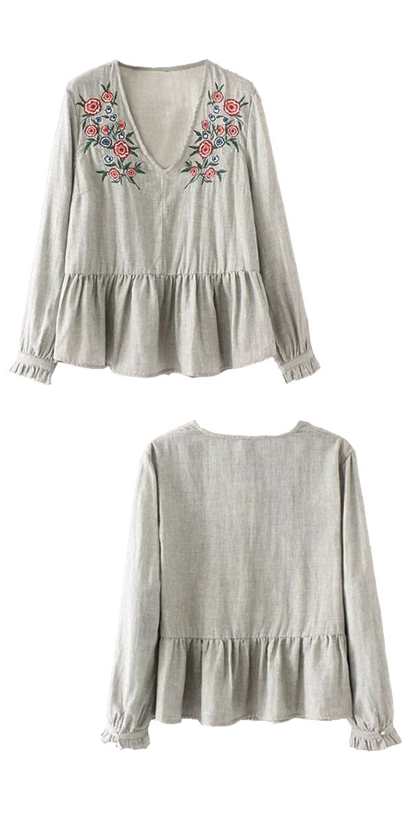 $13.55 Floral Embroidered Blouse