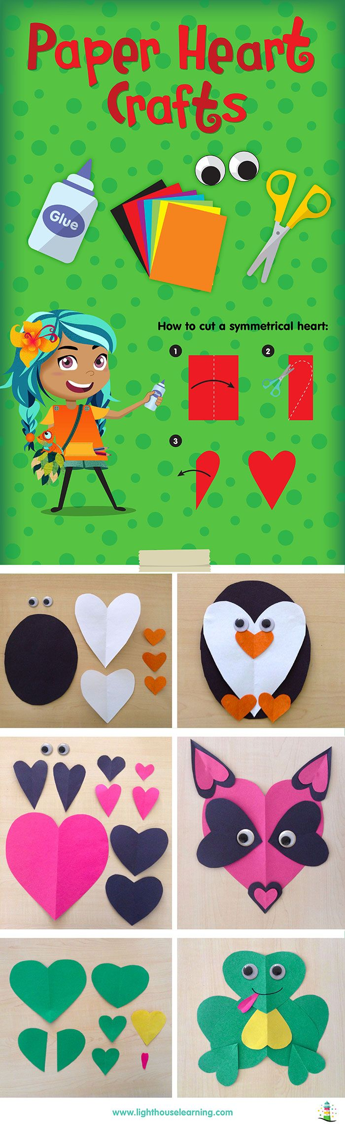 3 cute animals made of paper hearts - simple kids' craft for Valentine's day!