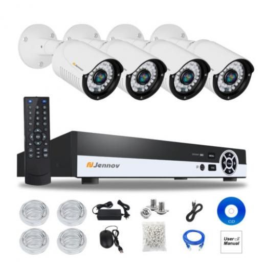Jennov 4ch Bullet Hd 1080p Poe Onvif Security Ip Camera Audio System Outdoor Network Cameras With Ethernet Connector Di-k4-a64wg20-v76-a 4 Channel Continuous Time Shcheduled Motion Detection No Hard Drive Pre-installed!