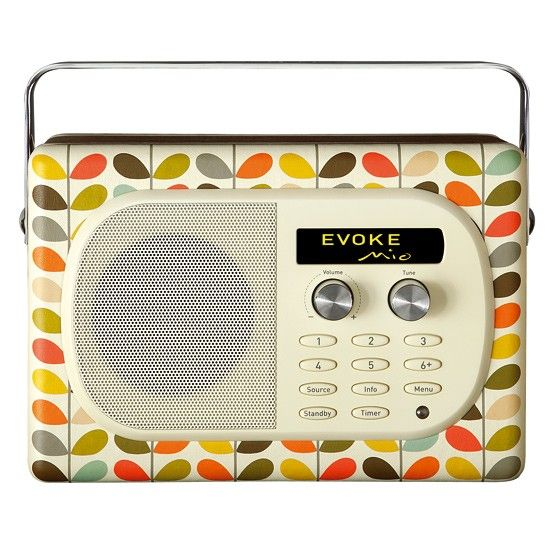 Featuring Orla's signature stem print front and back, a mirror chromed folding handle, walnut veneered cabinet, cream fascia and a stylish leather tag, this radio fits perfectly with Orla's extensive homeware range. Evoke Mio radio, £155, Orla Kiely at Pure