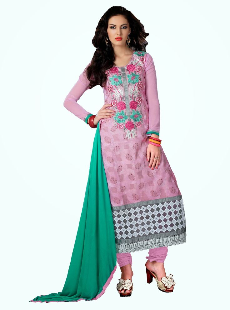 Party Wear Pink and Green Heavily Embroidered Chanderi Cotton Suit. Comes along with Santoon Bottom and Viscose Dupatta.