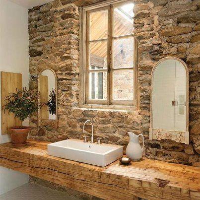 old barn beam - bath...Adirondack Style. | Bathroom Design ...