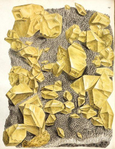 """Sulphur crystals, a figure from """"Exotic mineralogy, or, Coloured figures of foreign minerals"""" (1811)"""