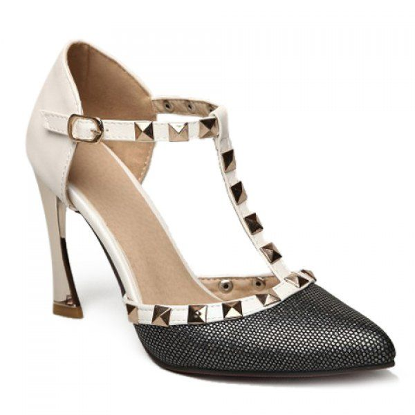 Sexy T-Strap and Rivets Design Pointed Toe Women's Pumps