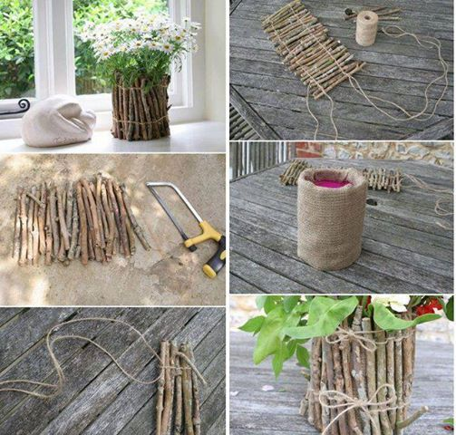 Diy flowerpot or storage container from twigs and twine