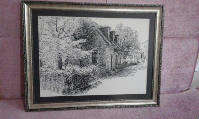 Kanaviçe siyah beyaz panom