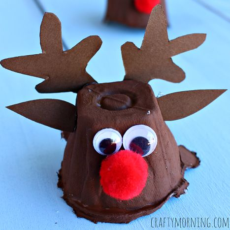 Make some egg carton reindeers for a christmas craft! This is the perfect art project for kids to use recycled items.