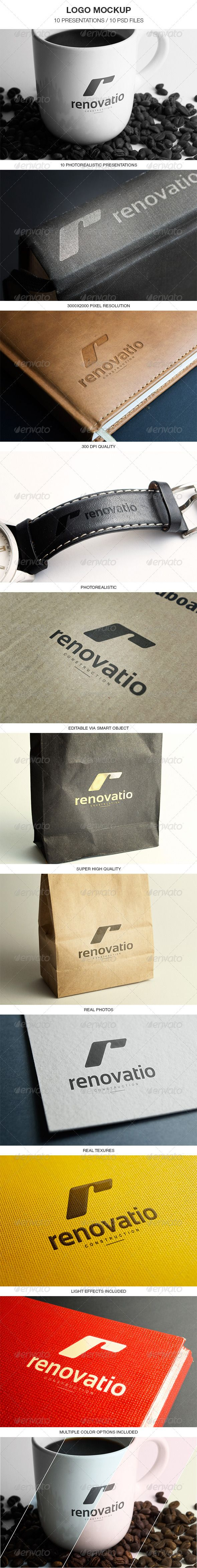 "10 Photorealistic Logo Mockups Mockups Impress your clients. Logo Mockup – 10 super high quality logo presentations. Present Your Logo in 10 perfect styles. All you have to do is to ""Edit content"" and paste your design in smart objects. Help File is Inside This Package. 10"