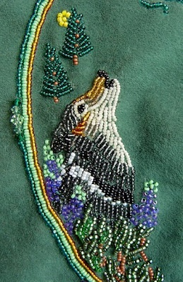 bead embroidery, grey wolf design, Janet Dann: