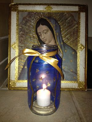 Family At The Foot Of The Cross: Mary's Mantle Lantern for OL of Guadalupe