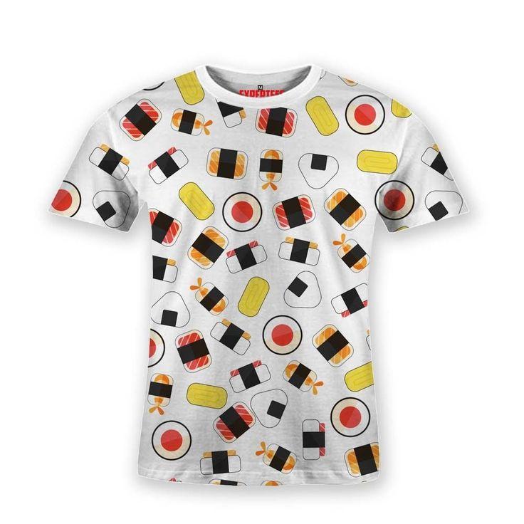 Basic T-Shirt Sushi Japanese Food Pattern White #Hooman #BasicTee #Expertees #Henley #banana #t-shirt #fashion #tees #fruits #food #sushi #sale #apparel #japan