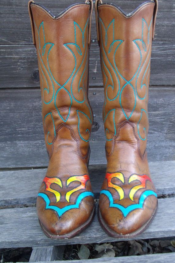 Luxury Womens Hand Painted Leather Cowboy Boots From Lottisunshyne On