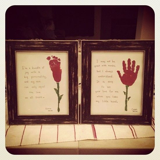 """Valentines day """"roses"""" from hand & foot prints - Valentines day gifts for gparents - decorating-by-day"""