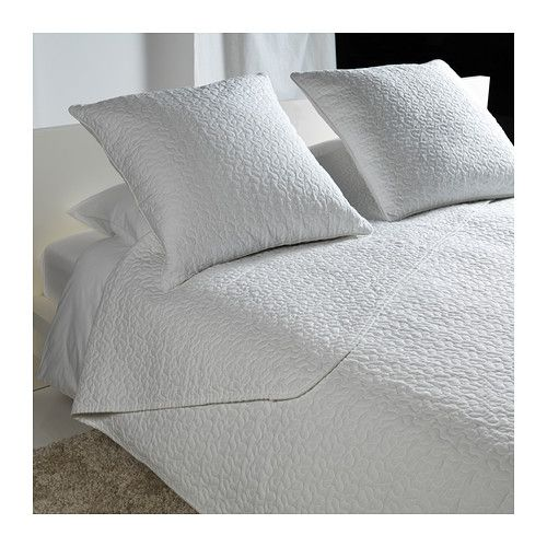 ALINA Bedspread and 2 cushion covers - white, Queen/King - IKEA