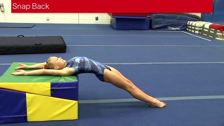 Snap Back Drill To create a long straight backhandspring the snap back into it must be tight and quick. Using a raised surface such as the folding incline wi...