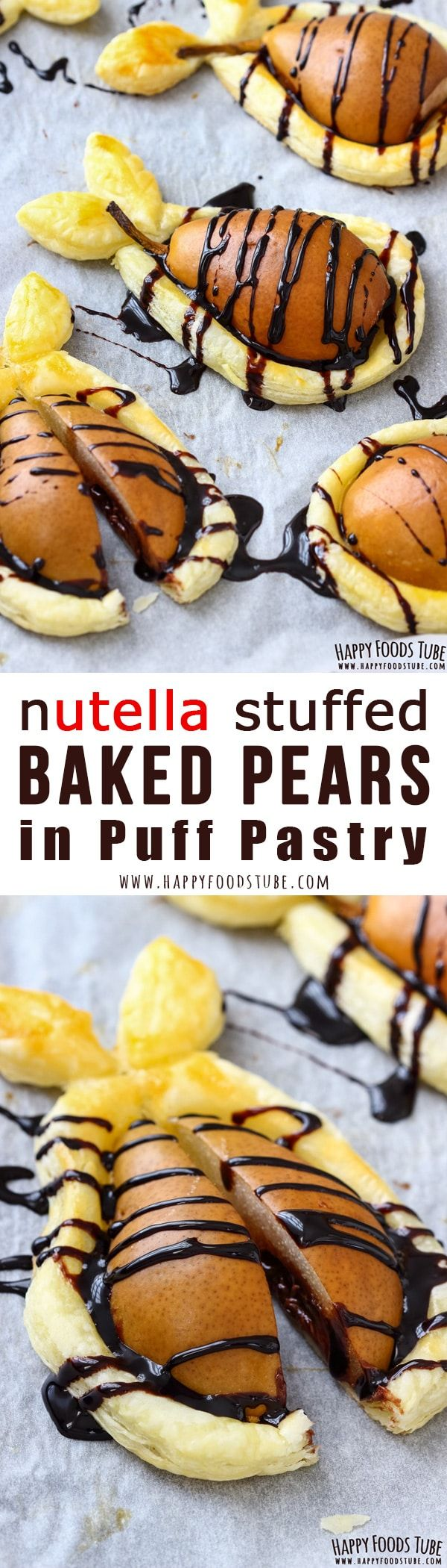 Wow your guests with Nutella stuffed baked pears in puff pastry. This easy fall dessert is ready in less than 30 minutes and requires only 5 ingredients. #dessert #nutella #pears #puffpastry #recipe via @happyfoodstube