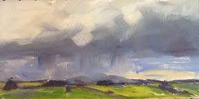 pirongia under a cloudburst. oil on canvas panel