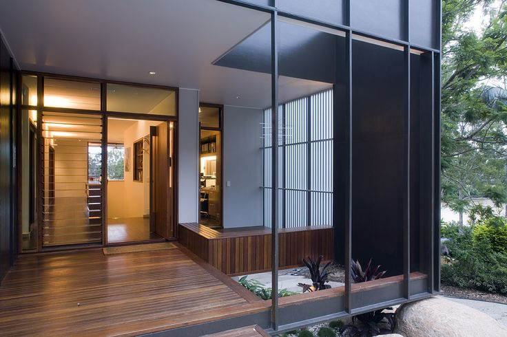 Fig Tree Pocket House 2: Timber deck entry with timber framing and bespoke bench detail. See more at http://blighgraham.com.au/projects/fig-tree-pocket-house-2