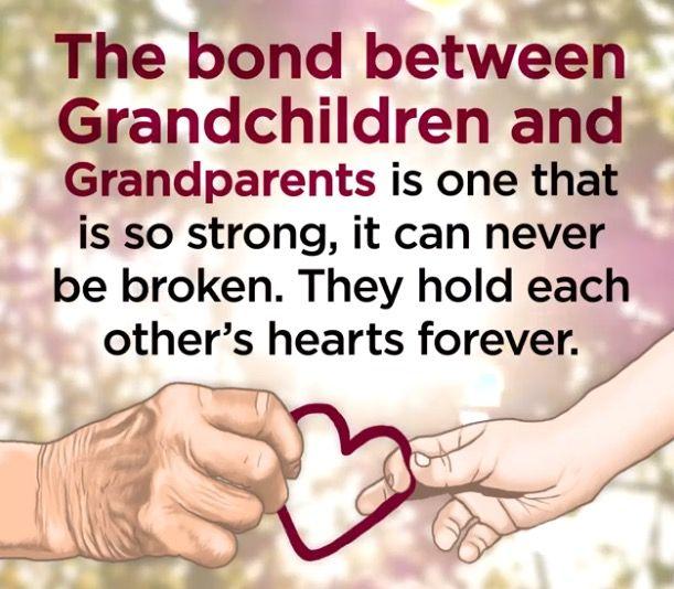 El vínculo entre nietos y abuelos  es tan fuerte, que nunca puede ser roto. Se sostienen mutuamente los corazones para siempre