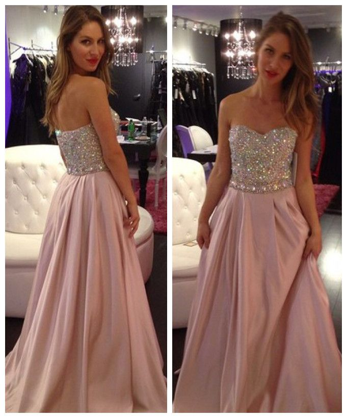 Fashion Sequin A-line Sweetheart Floor Length Prom Dress CHPD-30121