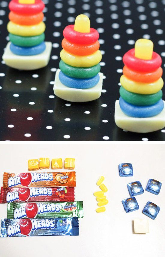 Candy Rainbow Rock-a-Stack Toy | Click Pic for 35 DIY Baby Shower Ideas for Girls| DIY Baby Shower Party Favors for Girls