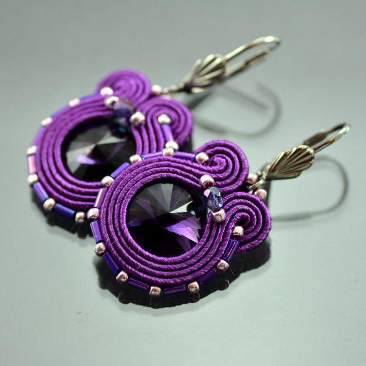 Soutache Earrings, Small Violet Dangle Soutache Earrings, Violet Soutache Earrings, Soutache Jewelry Dark Violet Orecchni Soutache, Bohemian by OzdobyZiemi on Etsy