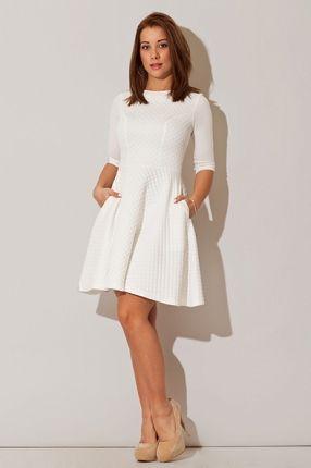 Sukienka 3/4 Sleeves Quilted Style - Cream