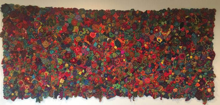 my wall hanging i have been making pieces for over 10 years. inspired by Prudence Mapstone. Dedicated to my Grandmother Rita O'Brien who patiently taught me to crochet. 2.85m x 1.30